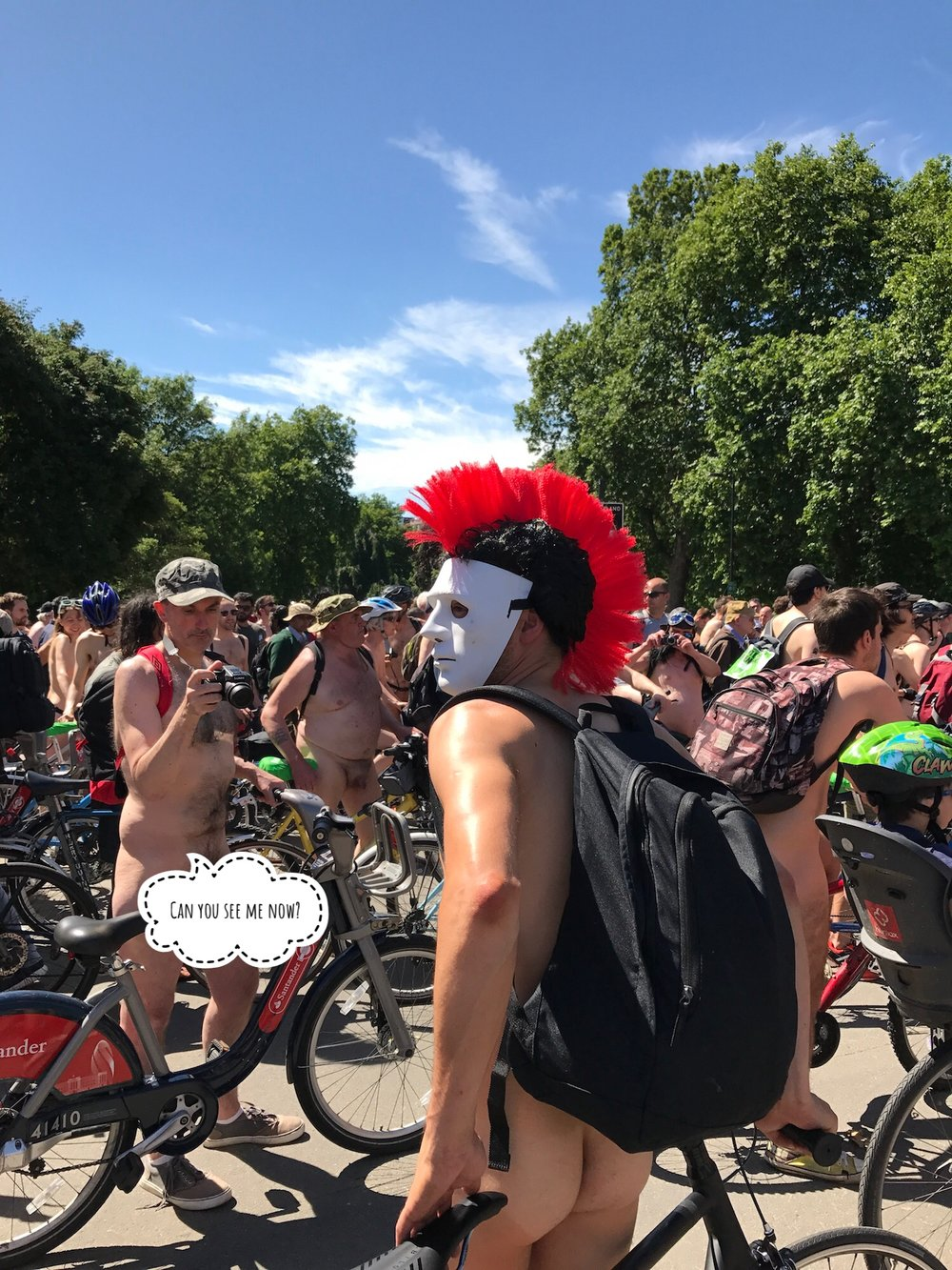 Guy with mask. World Naked Bike Ride 2017. Start Hyde Park London