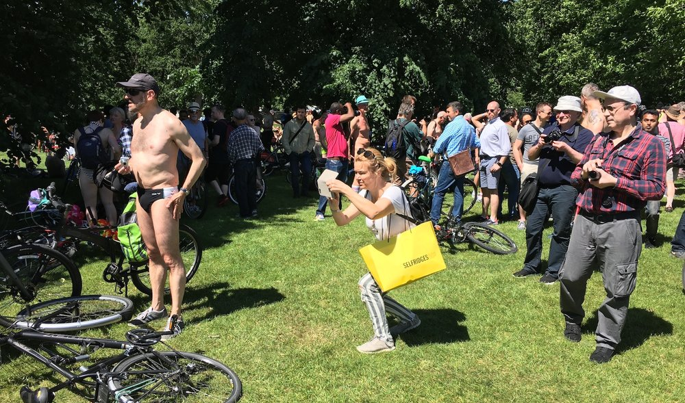 A Broad In London at 2017 World's Naked Bike Ride. Hyde Park, London