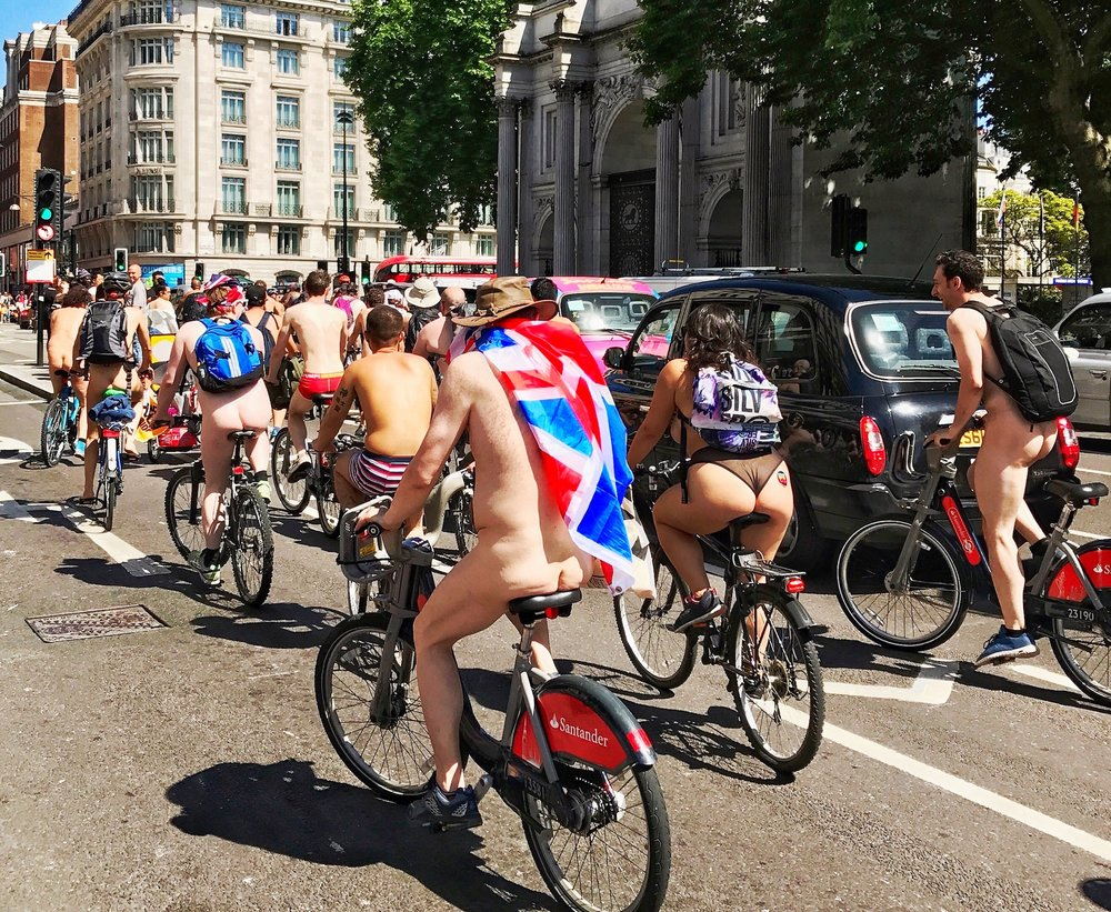 Union Jack Cape Flying High. World's Naked Bike Ride London 2017