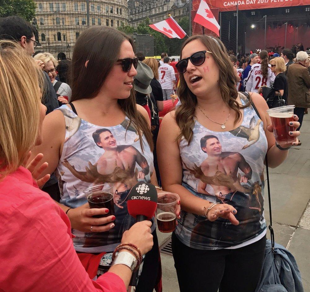 Girls in Trudeau T Shirts at Canada celebration in Trafalgar Square