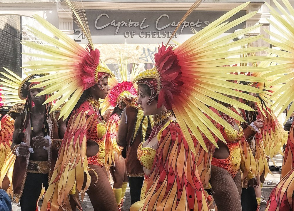 Feathered Dancers at The Notting Hill Carnival Parade