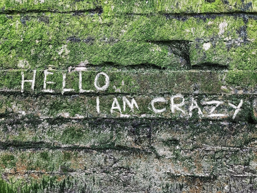 Written on the River wall near Greenwich. Hello I Am Crazy Hero.jpeg