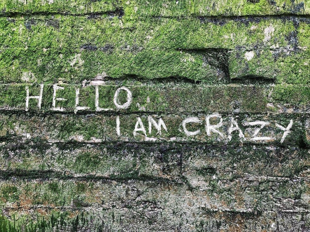 Written on the River wall near Greenwich. Hello I Am Crazy Hero.jpeg