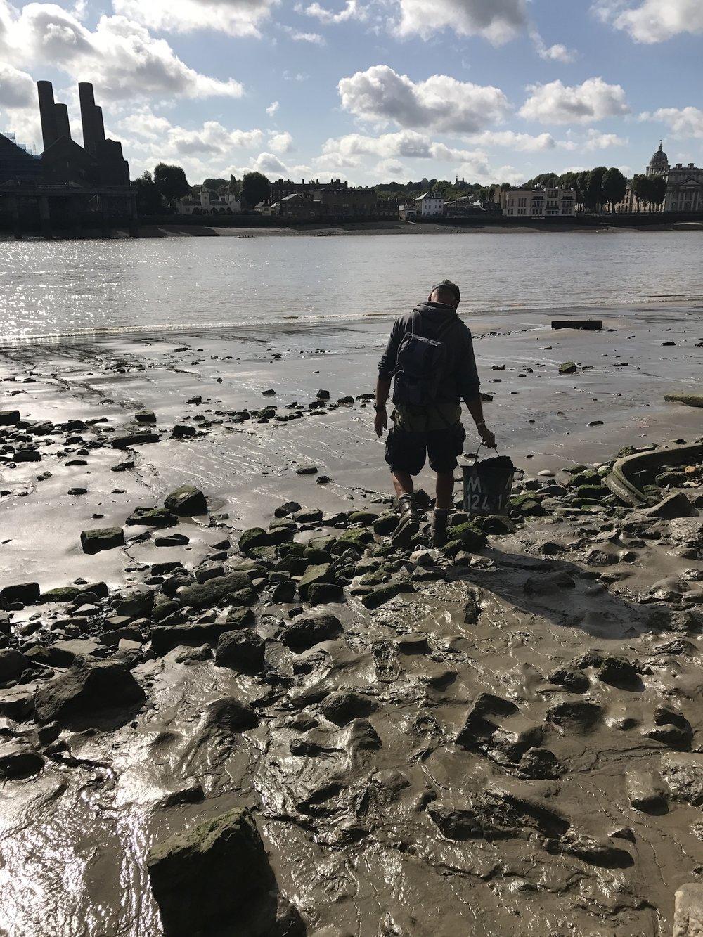 Mud-God Steve Brooker Mudlarking on the banks of The Thames