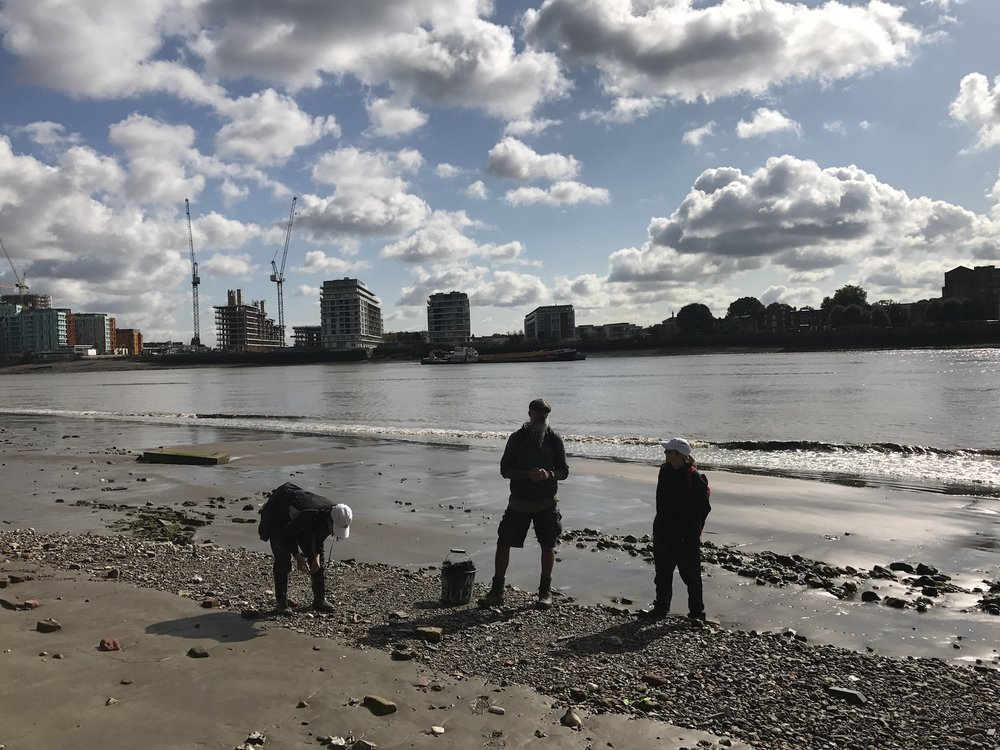 Wide Mudlarking. Low Tide. The banks of The Thames. Greenwich
