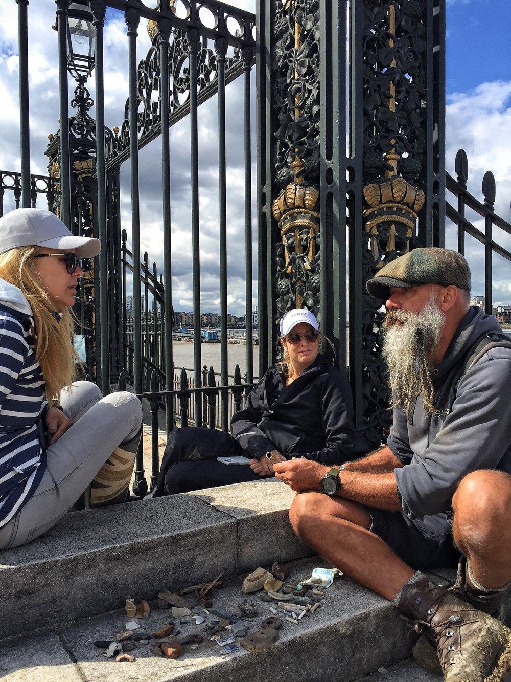 Sitting By Gate after morning of Mudlarking with Steve Brooker
