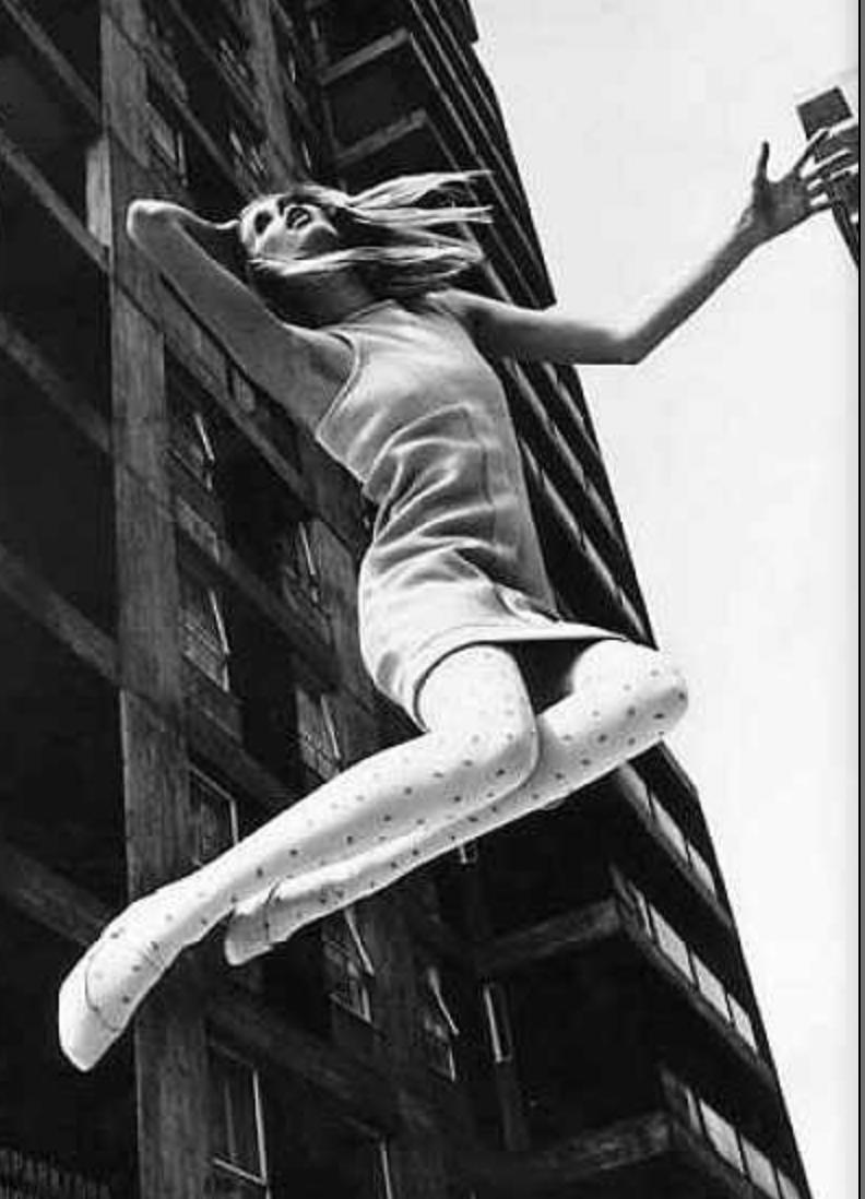 Girl in MiniSkirt jumping