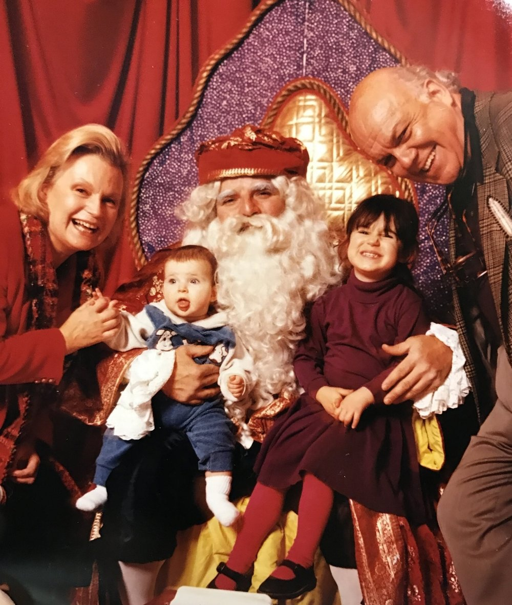 Christmas Photo With Santa. Children and Grandparents