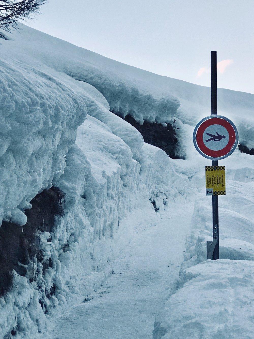 Warning Sign on Hike, Zermatt.
