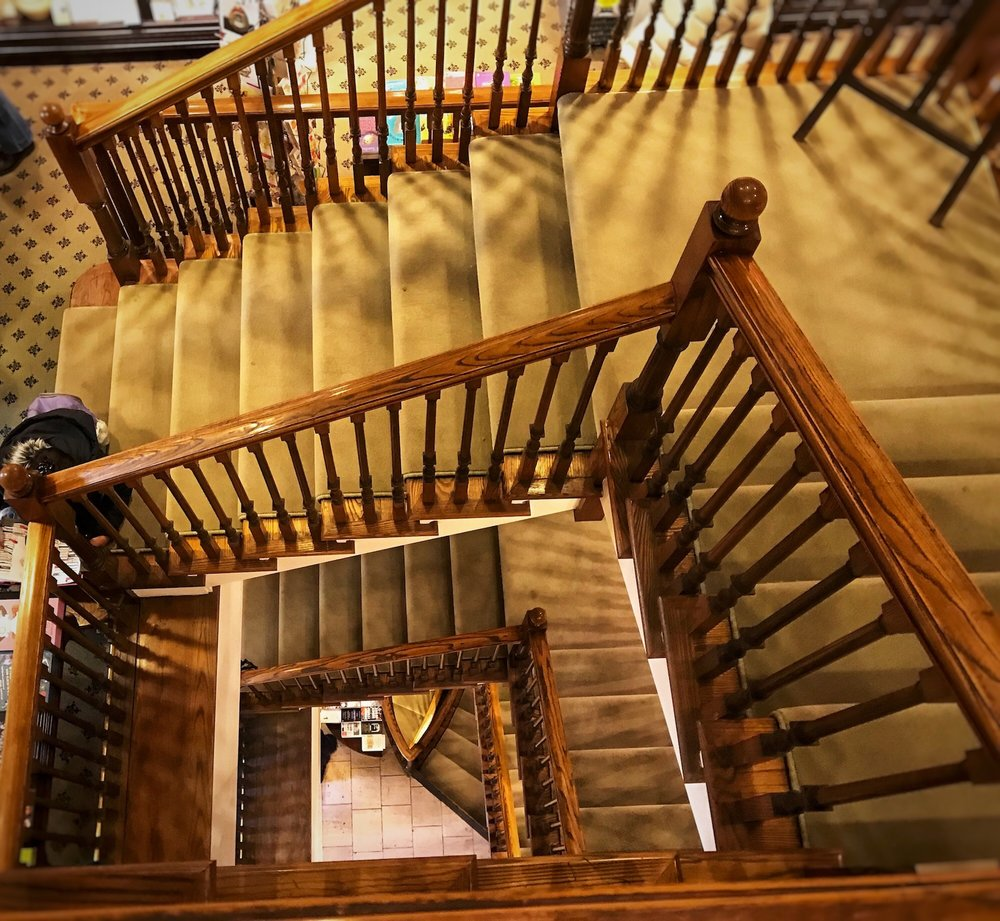 Staircase in Hatchard's bookstore, Piccadilly.