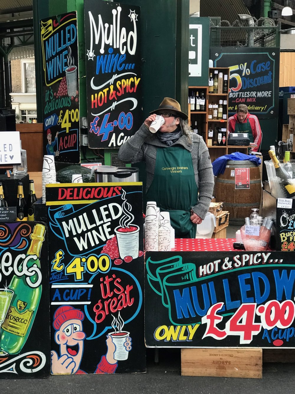 Mulled Wine for sale at The Borough Market. A Broad In London