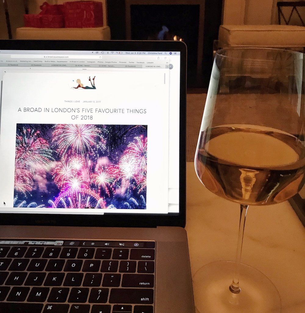 A+broad+in+London+writing+a+blog+with+Chardonnay. A Broad In London's Top Five Things of 2018