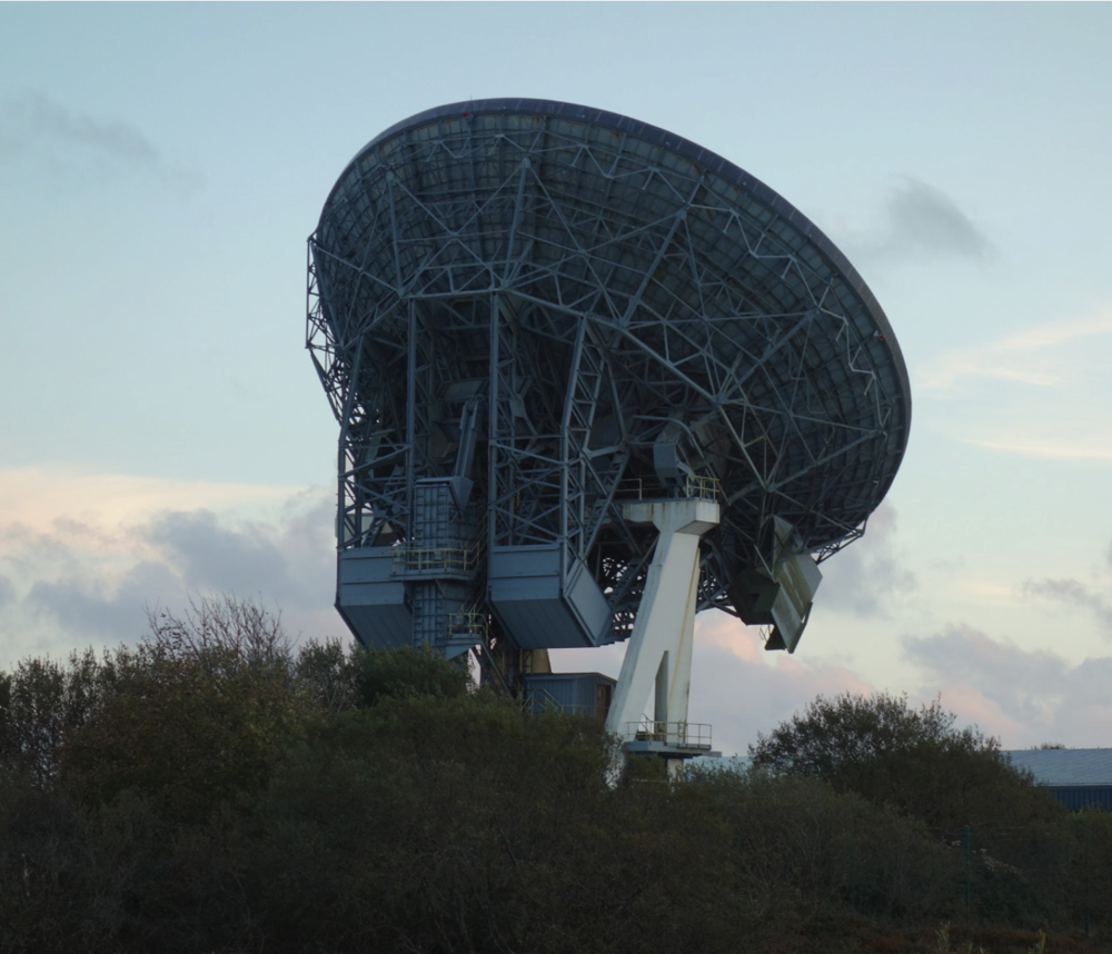 Satellite dish nicknamed 'Arthur' at Goonhilly Downs in Cornwall