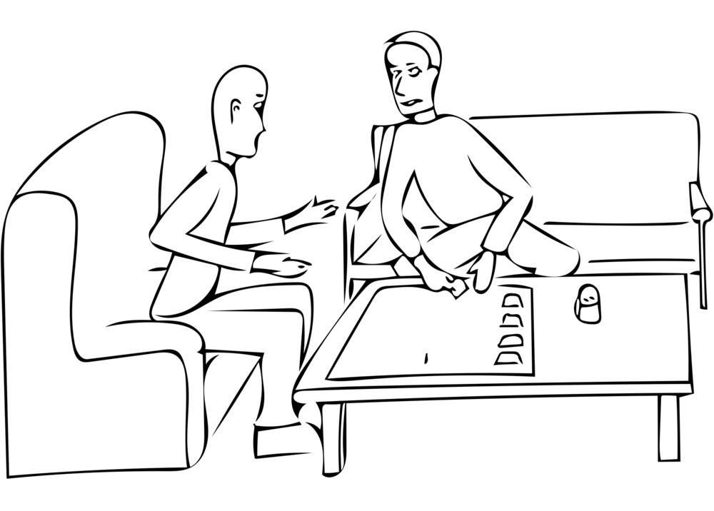 Illustration of a participant interview taking place