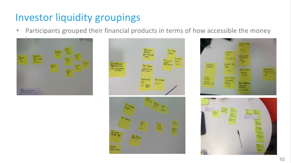 Slide from user research card sorting exercise presentation