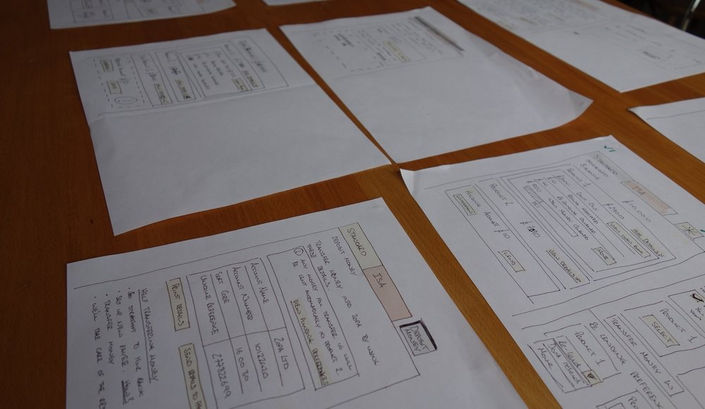 Sketched ideas laid out for the team to provide feedback