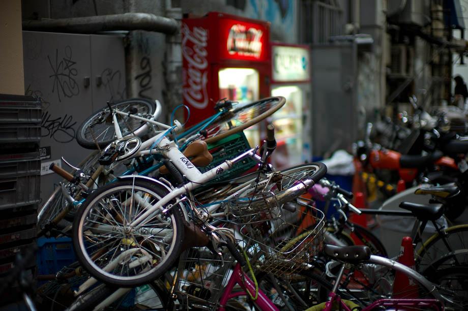A pile of bikes in Shibuya, Tokyo, Japan