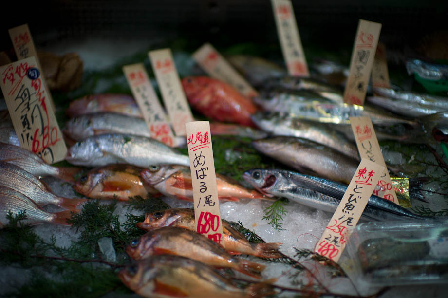 Fish for sale in Tokyu Department Store in Shibuya, Tokyo, Japan