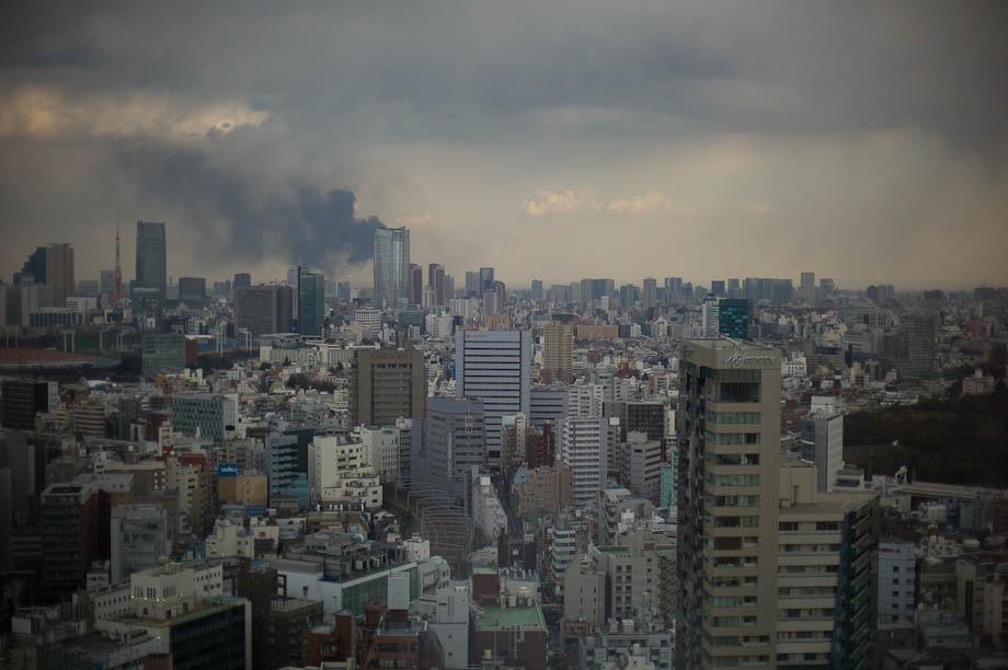 Fire in Odaiba, Tokyo, Japan