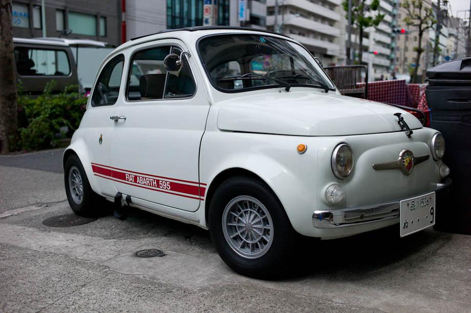 Fiat Abartha 595 in front of Pizzeria e trattoria da isa in Nakameguro, Tokyo, Japan