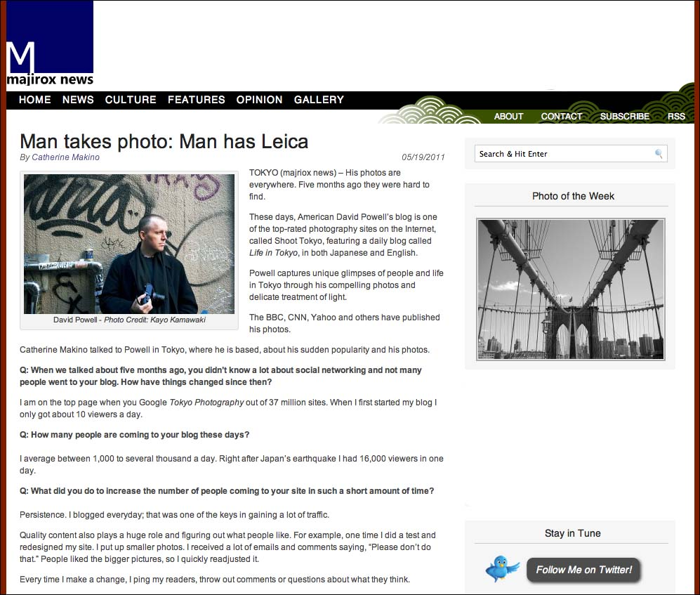 Shoot Tokyo interview on Majirox News