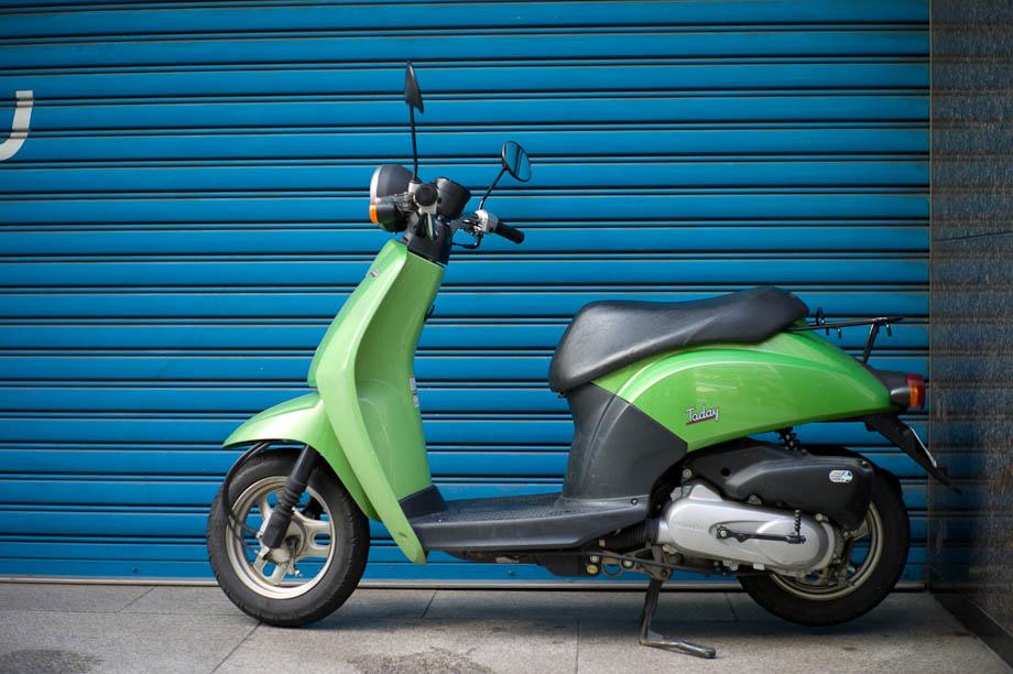 Green bike in Shinjuku, Tokyo, Japan