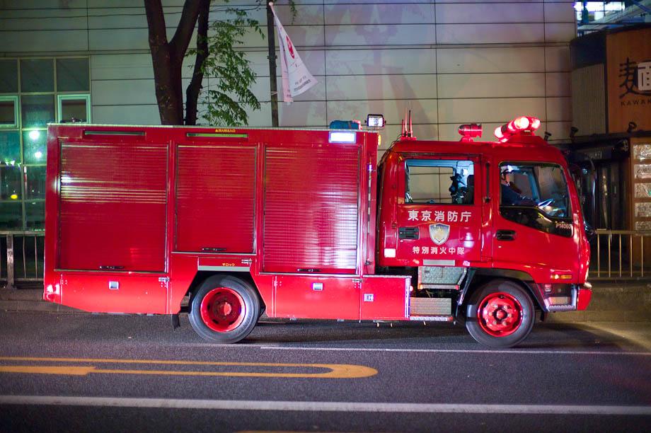 Fire Truck in Shibuya, Tokyo, Japan