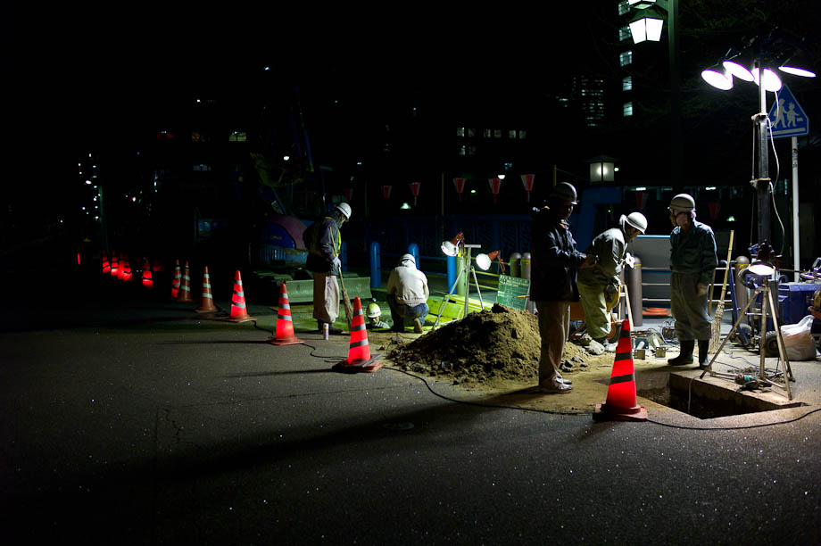 Night Construction in Nakameguro