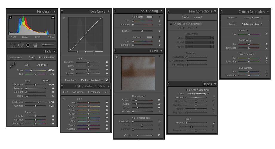 Adobe Lightroom Controls