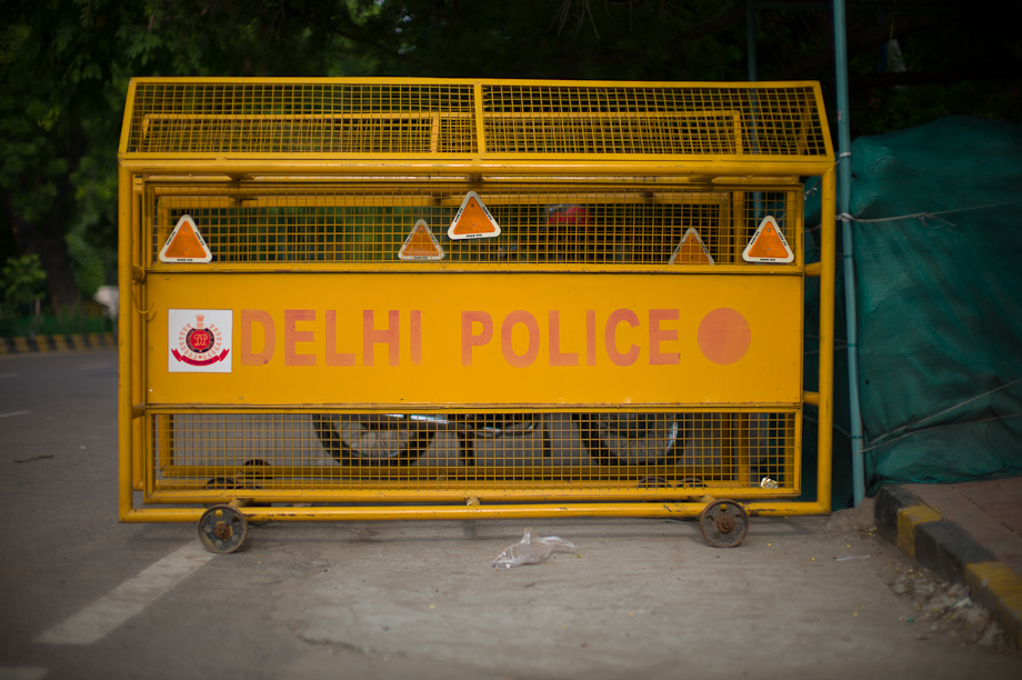 Delhi Police Security Barrier