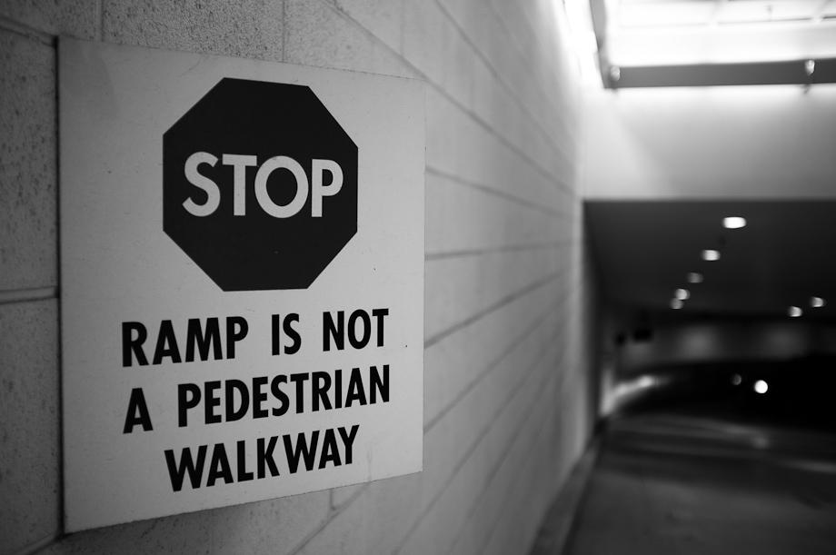 Ramp is not a pedestrian walkway