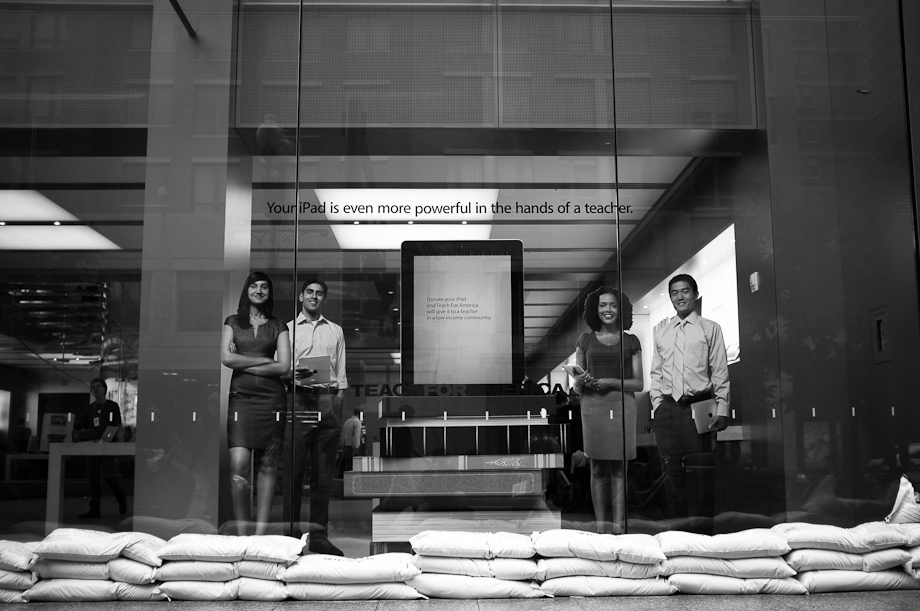 Sand Bags in front of the Apple Store in Boston