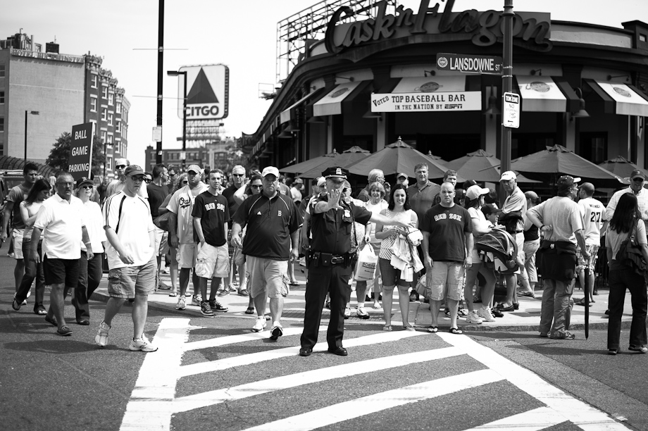 People heading to Fenway Park for a game