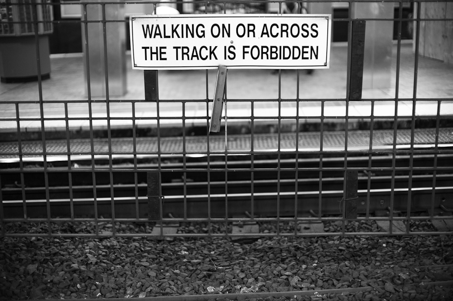 Don't walk on the train tracks