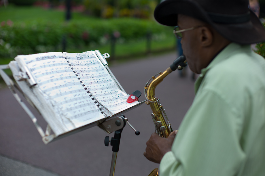 Saxophone Player in Boston Public Garden