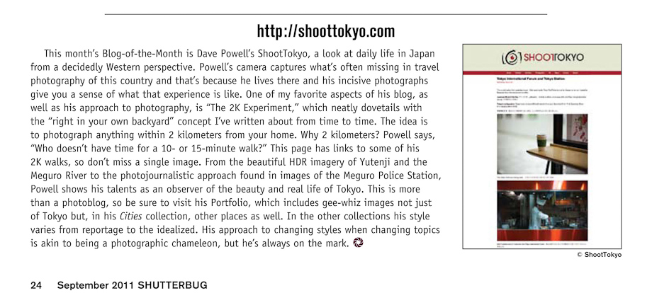 ShootTokyo in Shuttbug's September 2011 Issue as Blog of the month