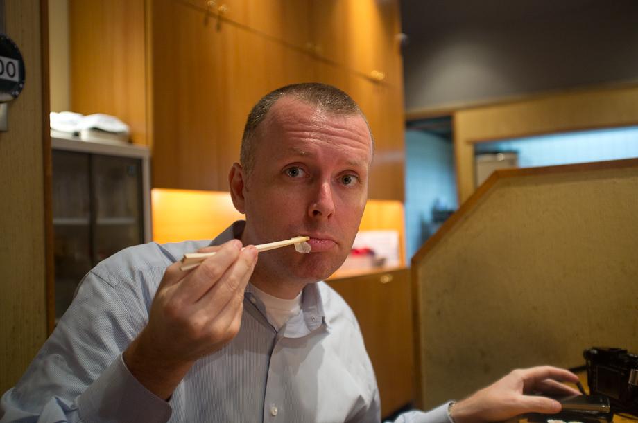Dave eating Sushi