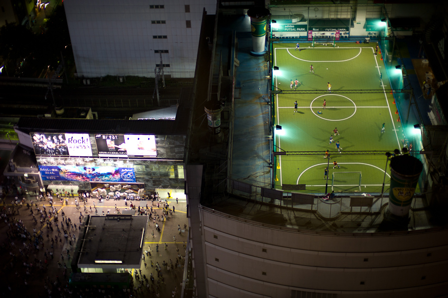 Soccer on top of Shibuya Station