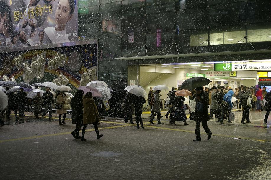 A snowy Shibuya Station