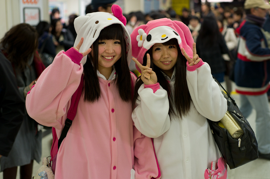 Kids dressed as Hello Kitty at Shibuya Station