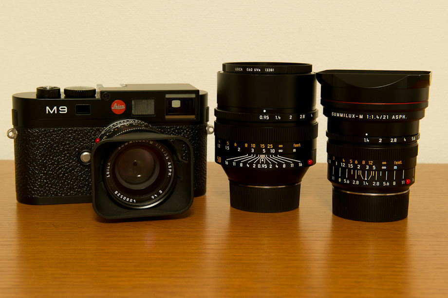 Leica M9 with a Summilux 35mm , Noctilux 50mm and Summilux 21mm