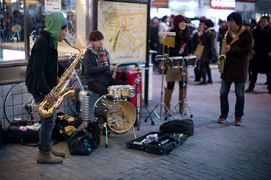 Band Playing in front of Shibuya Station