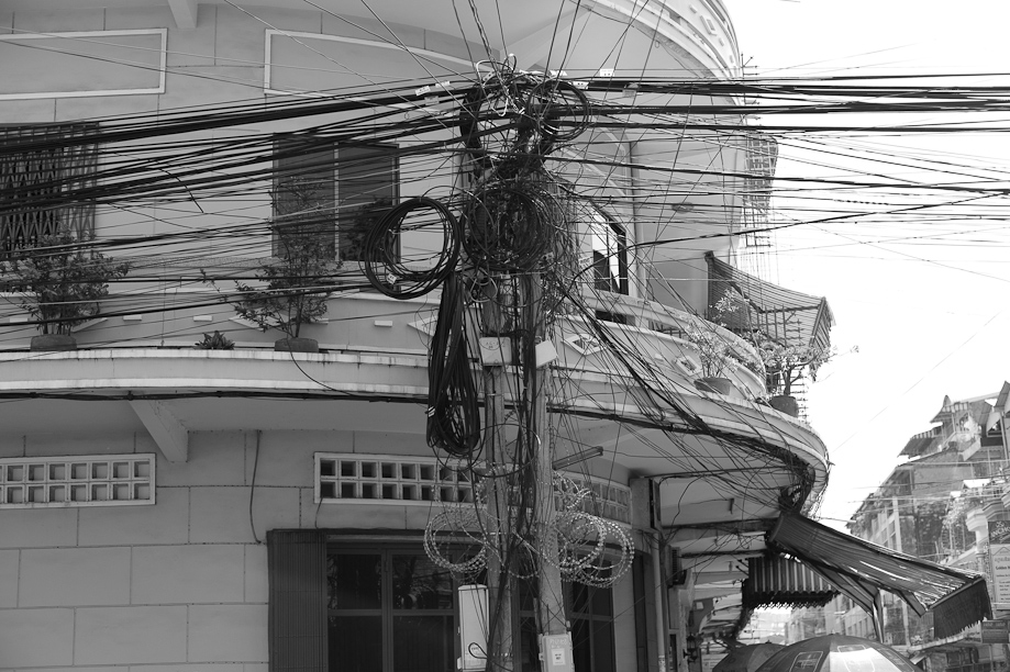 Electric Lines in Phnom Penh, Cambodia