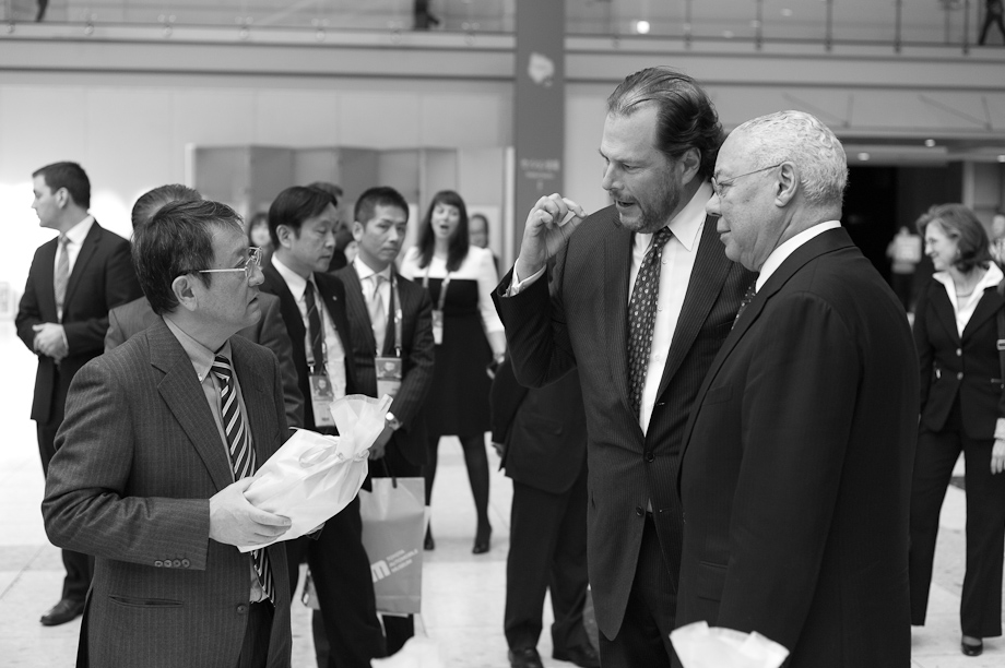 Marc Benioff, General Colin Powell and Akio Toyoda