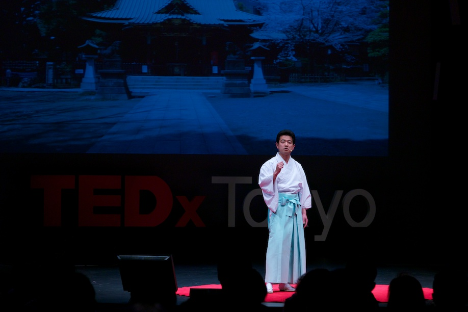A shinto priest speaking at TEDxTokyo 2013