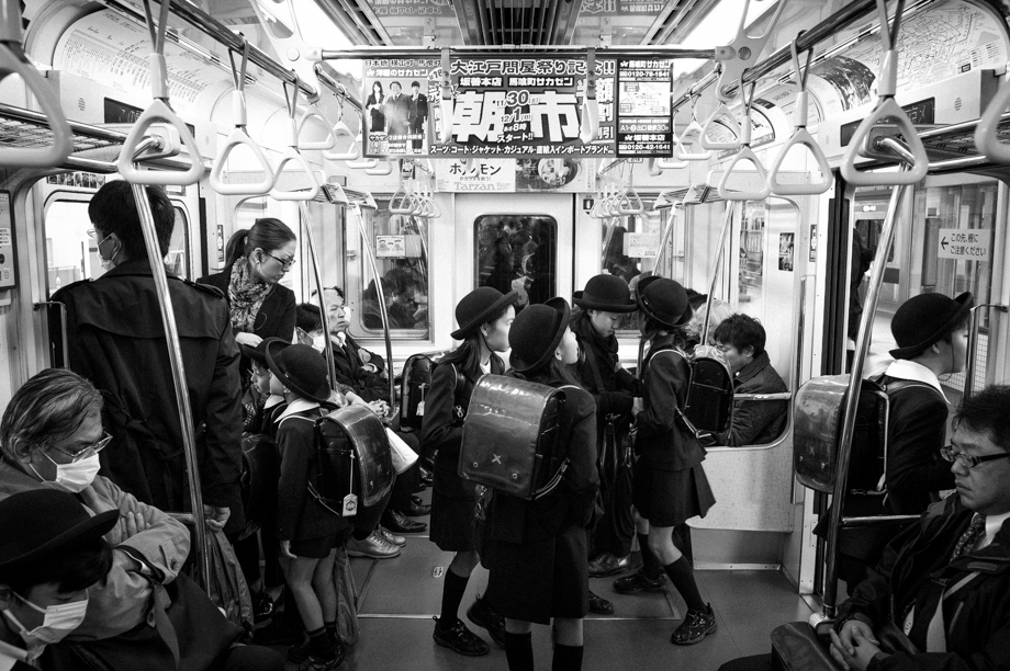 Japanese School Children on the Train in Tokyo