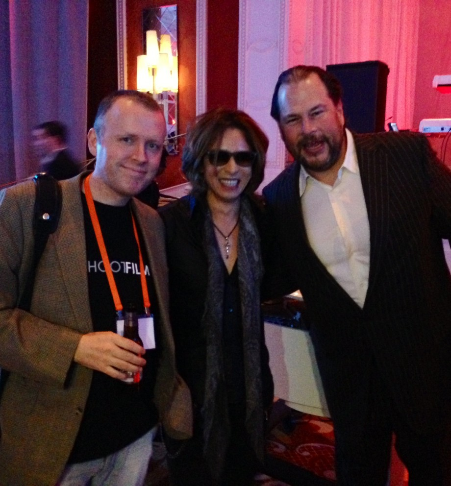 Dave, Yoshiki and Marc Benioff