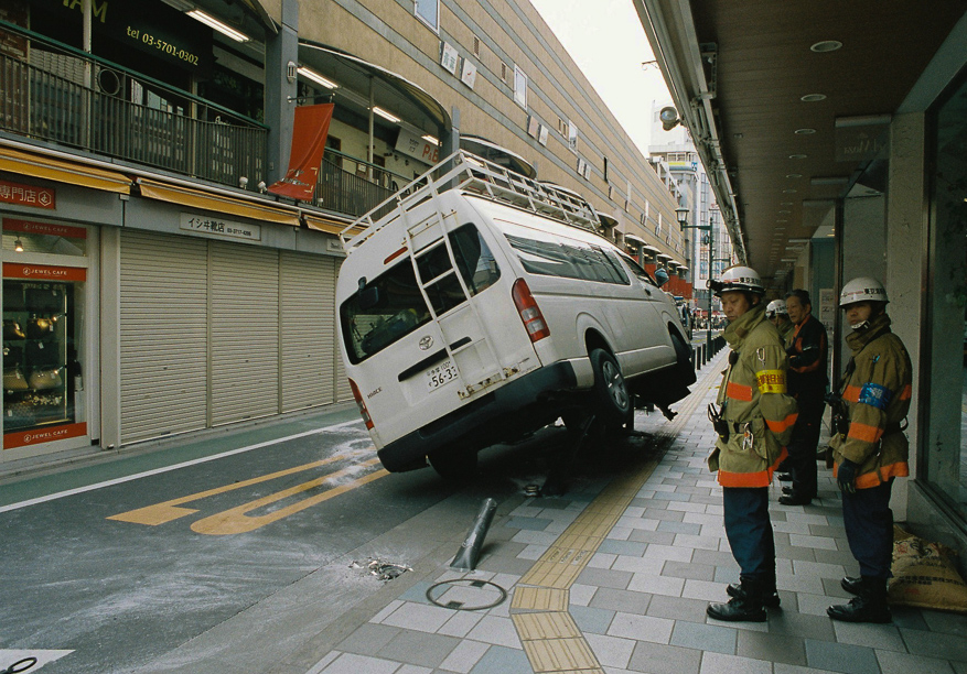 Car crash in Jiyugaoka