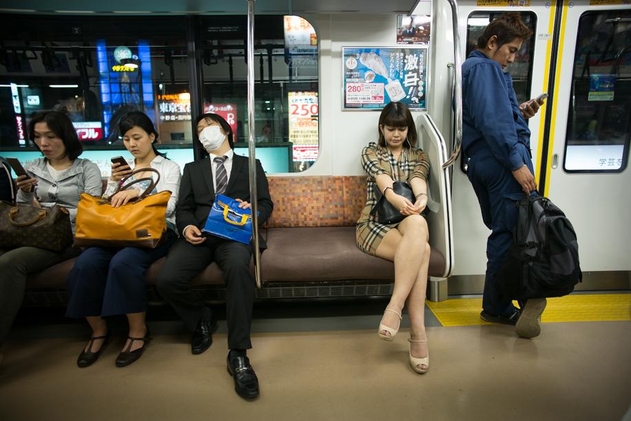 On the train to Shinjuku