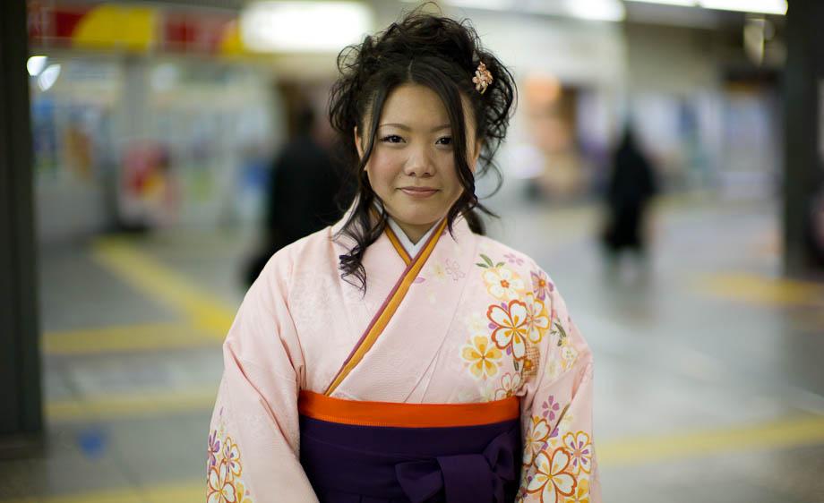Kimono Girl in Shibuya Station